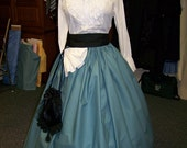Ladies Civil War Skirt Dicken's Victorian Long drawstring SKIRT Teal with small circles cotton fabric and one size fit all