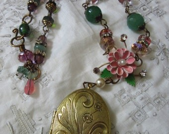ASSEMBLAGE NECKLACE, Romantic Locket Necklace, Vintage Assemblage, Pink, Green Necklace, Beaded Necklace, Gift For Her