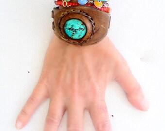 Leather Bracelet , Handmade Leather Gemstone Bracelet , Turquoise Leather Bracelet