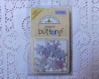 Snowflake Shaped Buttons - Doodlebug Brand