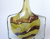 Mdina Art Glass, Large Axe Fish Head Lollipop Brown Vase Signed 1983
