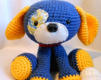 Crochet Dog in Bright Royal Blue and Bright Yellow Yarn with Bone, Canine, Stuffed Dog, Dog Lover, Stuffed Animal, Puppy