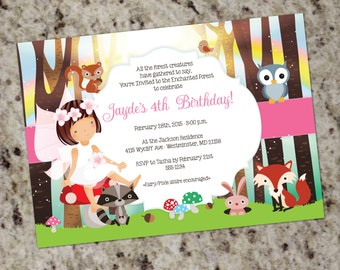 Enchanted Forest Invitation - Woodland Fairy Party Invitation