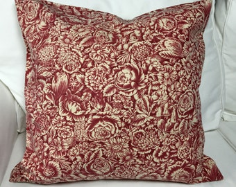 Red floral pillow cover