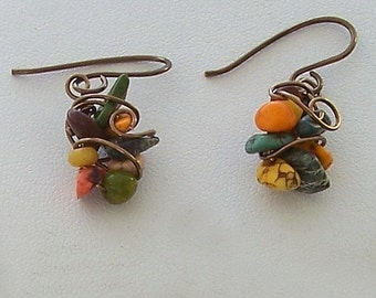 Fall Colored Jasper Chip Wire Wrapped Bird's Nest Earrings