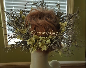 Head wreath willow eucalyptus twig woodland wedding forest hydrangea man woman elf fairy renaissance circlet