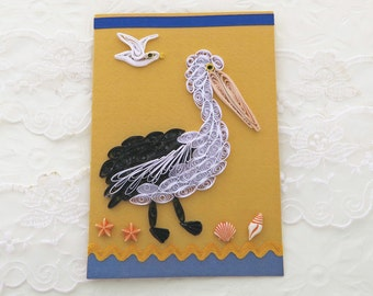 Pelican Card, Paper Quilling, Paper Quilled SeaGull, Happy Birthday, Thinking of You, Fisherman Card, Yellow,Sea Shells,  Handmade Australia
