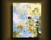 Large Abstract Painting on Gallery Stretched Canvas Modern Wall Art for Contemporary Home Blue Green White Orange 24 x 30