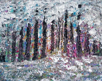 Original Palette Knife Oil Painting WINTER FOREST Trees Landscape Art on Canvas ready to hang