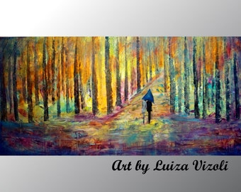Rain Couple Painting Large Abstract Landscape Spring Summer Fall Seasons Original Artwork on Canvas