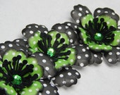 Pretty Black, Green and White Anemone like Flowers-Set of 3