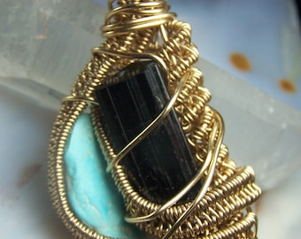 Black Tourmaline Turquoise necklace pendant 14 Karat Gold fill wire wrap - crystal stone light blue point natural stone - black cord - @R12