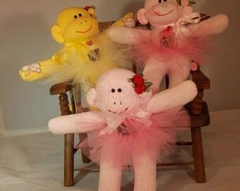 ON SALE Handmade Sock Monkey, Recycled Baby Socks with Cupcake Patch, Mini Ballerina Monkey, OOAK, Doll Toy Plush Stuffed Animal Amigurumi
