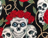 Ships FREE! Rose Skulls Cotton Fabric by the 1/2 yd