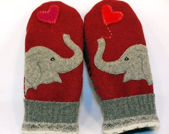Recycled Wool Sweater Mittens  Elephant Mittens Red and Grey Fleece Lined Mittens Leather Palm Eco Friendly Size M