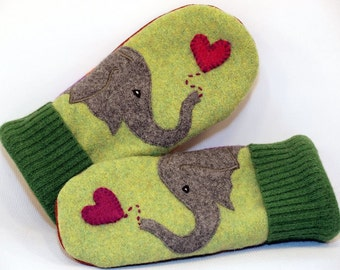 Mittens Felted Wool Eco Friendly Wool Sweater Green Grey and Red Elephant Applique Fleece Lining Leather Palm Upcycled Size M/L