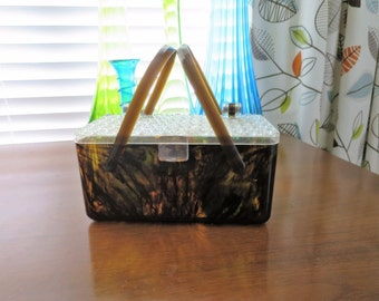 1950s Tortoise Shell & Clear Box Purse