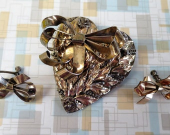 Hobé Vermeil Sterling Silver 14K YG Floral Heart Pin Brooch w/Bow + Earrings SET