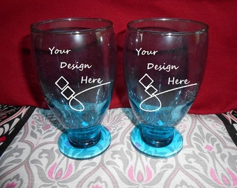Aqua Colored Hand Etched Drinking Glasses with base