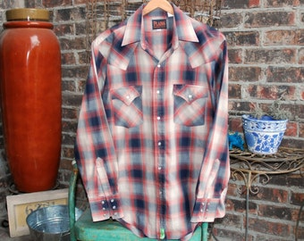 Vintage Plaid Western Shirt by Plains Western Wear - Mens size Medium - Ladies Size Large or XL - Unisex - Long Sleeves