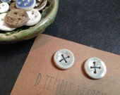 Buttons - Set of 2 - Ceramic - Handmade - Rustic