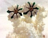 Vintage Christmas poinsettia enamel on metal clip earrings.