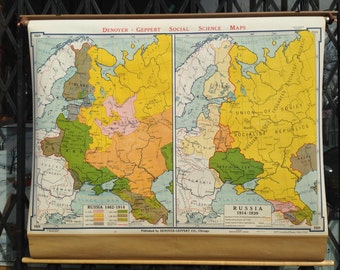 Vintage School Map Russian History Retractable Pull Down
