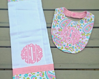 2 pc bib and burp cloth set