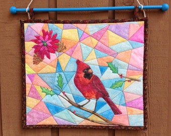 Quilted Cardinal Wall Hanging, Art Quilt, Bird Quilt, Hanging Quilt, Stained Glass Art Quilt, Small Wall Hanging, Painted Textile