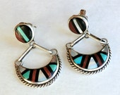 Vintage Sterling Zuni Earrings Inlay Post Crescent Dangle Signed T.R.W.