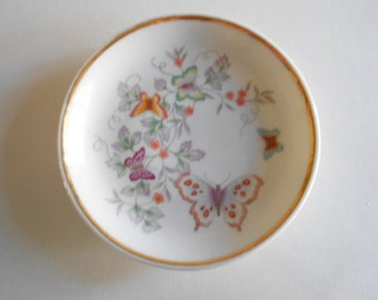 """Avon Butterfly Dish Butterfly Plate Vintage 1979 Porcelain Plate Vintage Plate Miniature Plate 4"""" Plate Made in Brazil"""