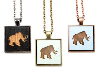 Woolly Mammoth Pendant Necklace - Laser Engraved Wooden Cameo (Custom Made / Any Color)
