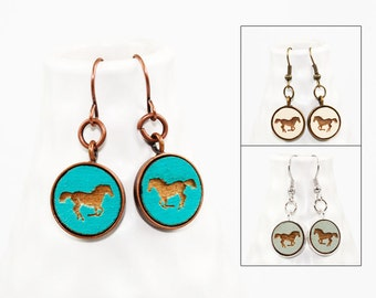 Horse Earrings - Laser Engraved Wood (Choose Your Color)