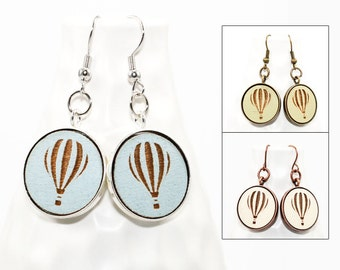 Hot Air Balloon Earrings - Laser Engraved Wood with Mermaid and Anchor Design (Choose Your Color)