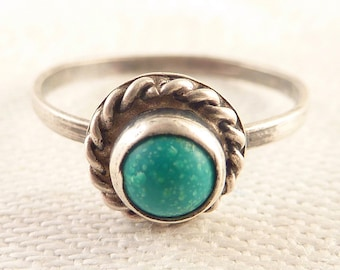 Vintage Size 6.25 Tiny Sterling Native American Faux Turquoise Ring