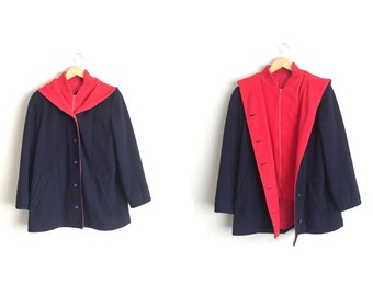 MACKINTOSH VESTCOAT // Wool Hooded Vest Coat - Navy Blue & Red - Vintage '80s. Size XS/S.
