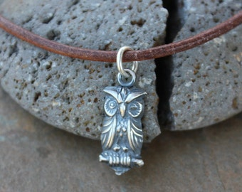 Grumpy Owl Necklace - handmade fine silver bird charm on brown leather cord - rustic woodland charm -  free shipping USA