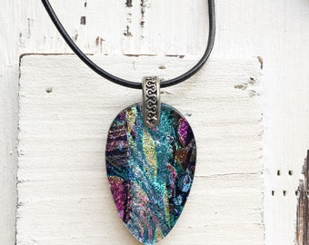 Fused Glass Teardrop Pendant - Fused Glass Jewelry - Dichroic Fused Glass Pendant - Necklace - Fused Dichroic Jewelry