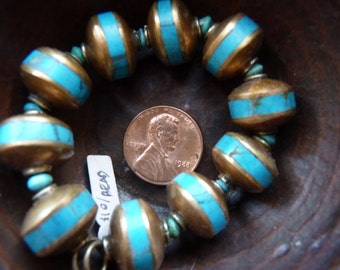 Brass with turquoise inlay