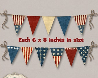 Old Glory Party Banner - Bunting - Printable Banner - 10 Different Banners - 6 x 8 In. Size - Perfect for Cookouts - INSTANT DOWNLOAD -3.50