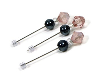 Counting Pins Marking Pins Cross Stitch Needlepoint Black Salmon Pink DIY Crafts TJBdesigns