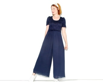HURRY HALF OFF Navy Blue Palazzo Pants Jumpsuit xs small // high waisted pants wide leg pants bellbottoms bell bottoms navy sailor jumper pl