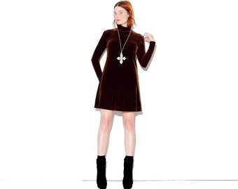 COOLEST 90s Dark Chocolate Brown Velvet Mini Dress // luxurious velvet long sleeves turtleneck collar dress sweater dress 90s grunge goth