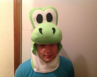 new fleece halloween dinosaur head only costume #1 size XL 16-adult with YOSHI EGG goodie bag super mario brothers