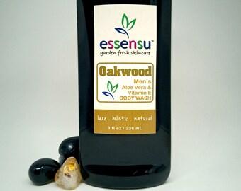 Men's Natural Aloe Vera Vitamin E Herbal Shower Wash | No Sulfate Body Wash | Sensitive Skin Formula | In Oakwood or Maverick | Vegan - 8 oz