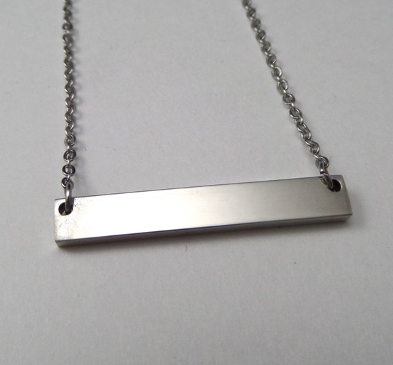 "2 - Surgical Steel Blank Bar Necklace 32mm x 5mm Polished 12 Gauge Thick 18"" Chain - Use 2.5mm Stamps"