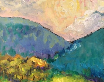 Setting sun over the blue green hills in the mountains original painting, acrylic expressive impressionist art, by Russ Potak