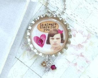 Best Friend Necklace Friend Gift Friendship Necklace Bottle Cap Necklace Bff Necklace Friend Jewelry