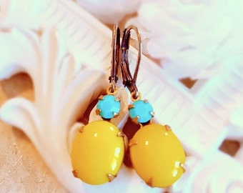 SALE 25% Off Bright Yellow Earrings - Turquoise Jewelry - Turquoise Earrings - Sunshine Yellow Earrings - MYSTERE Sunshine