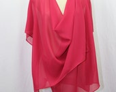 Women clothing, multiway tunic, fushia pink, semi-sheer polyester, 7 in 1, one size